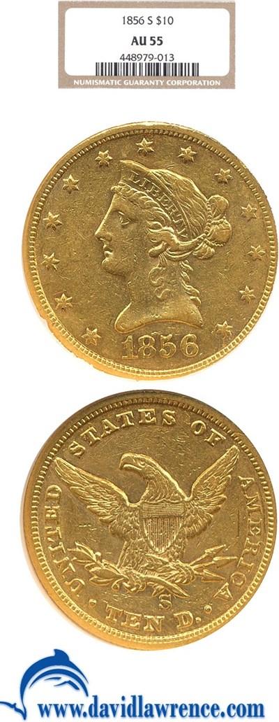 Image of 1856-S $10  NGC AU55