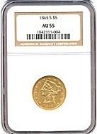 Image of 1865-S $5  NGC AU55