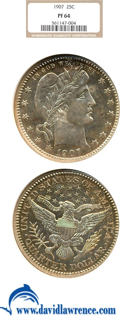 Image of 1907 25c  NGC Proof 64