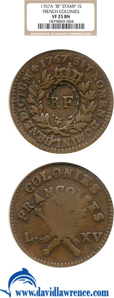 Image of 1767 'RF' Stamp 1S French Colonies NGC VF25