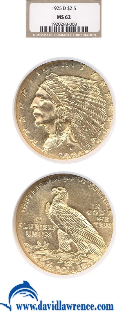 Image of 1925-D $2 1/2  NGC MS62