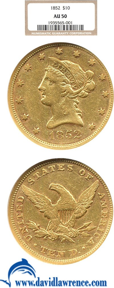 Image of 1852 $10  NGC AU50