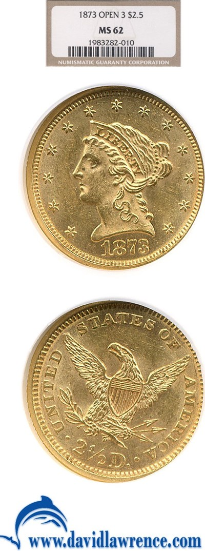 Image of 1873 $2 1/2 Open 3 NGC MS62