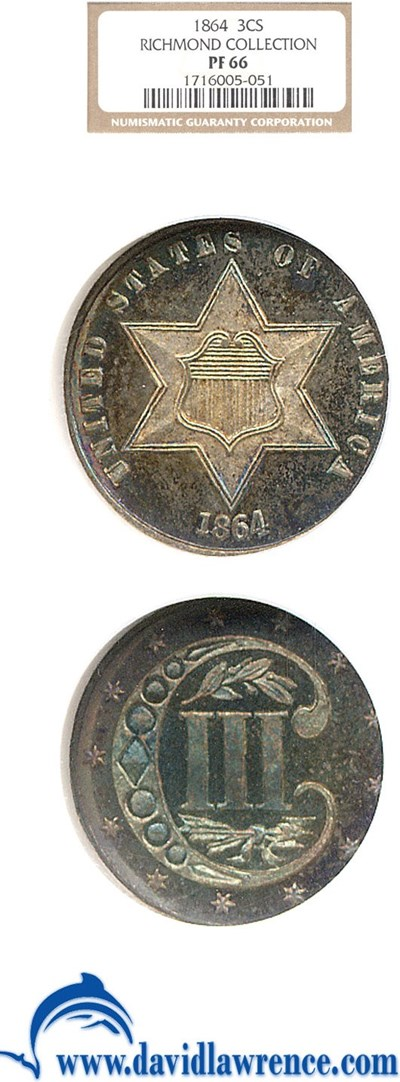 Image of 1864 3cS  NGC Proof 66 Ex: Richmond Collection