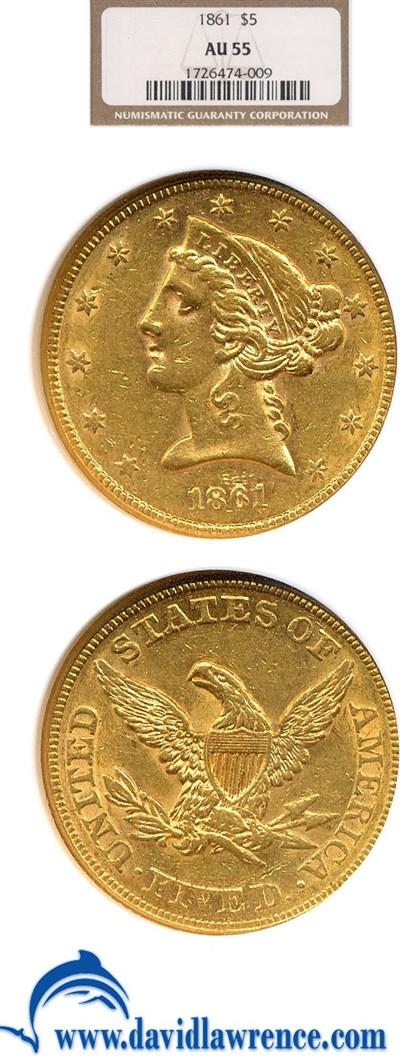 Image of 1861 $5  NGC AU55