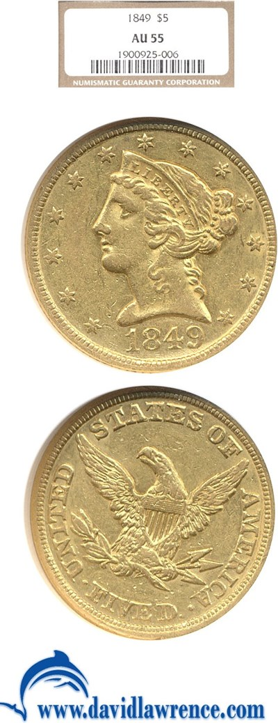 Image of 1849 $5  NGC AU55