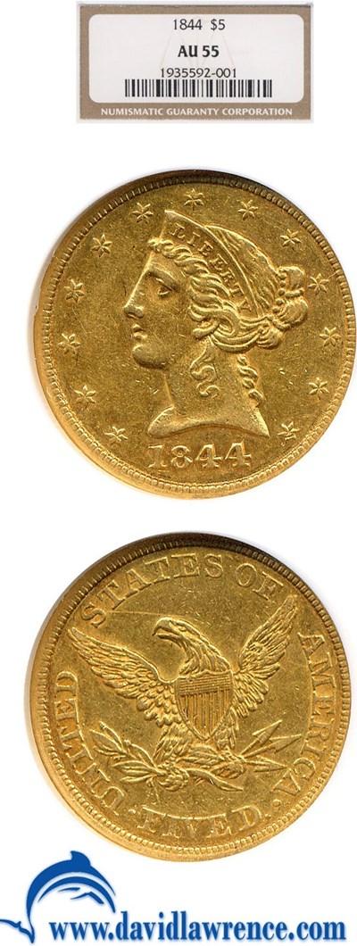 Image of 1844 $5  NGC AU55