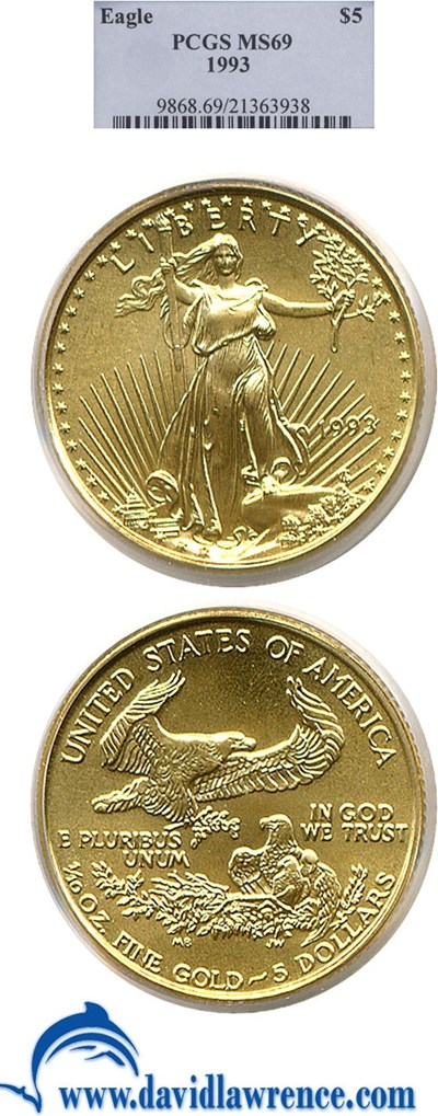 Image of 1993 $5 Gold Eagle PCGS MS69