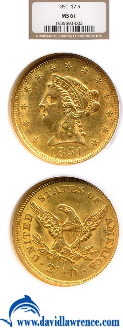 Image of 1851 $2 1/2  NGC MS61