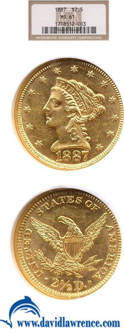 Image of 1887 $2 1/2  NGC MS61