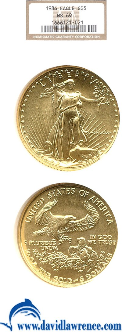 Image of 1986 $5 Gold Eagle NGC MS69