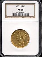 Image of 1856-S $10  NGC AU58