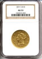 Image of 1871-S $10  NGC AU53