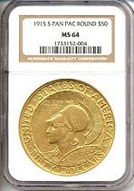 Image of 1915-S $50 Panama-Pacific Round NGC MS64