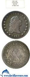 Image of 1795 $1 Flow. Hair, 3 leaves NGC AU58