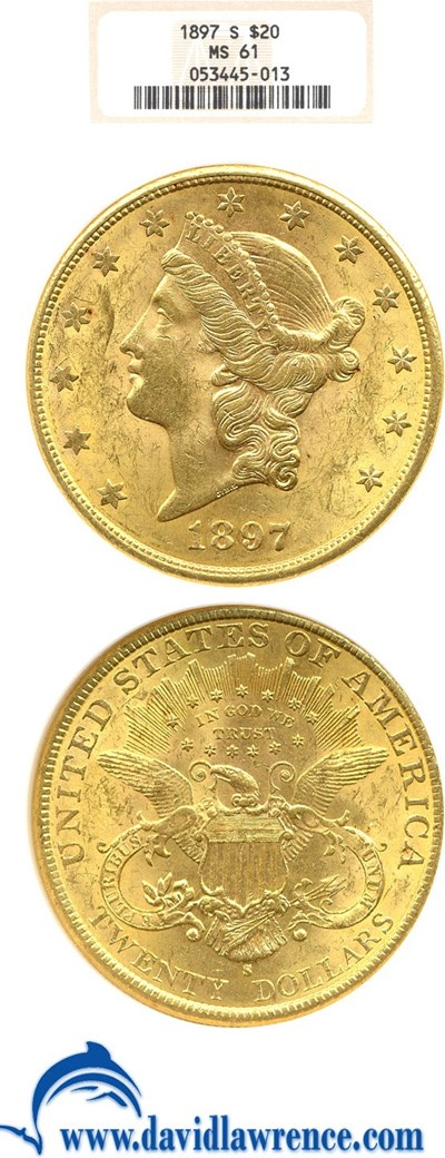 Image of 1897-S $20  NGC MS61