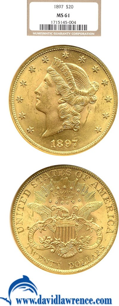 Image of 1897 $20  NGC MS61