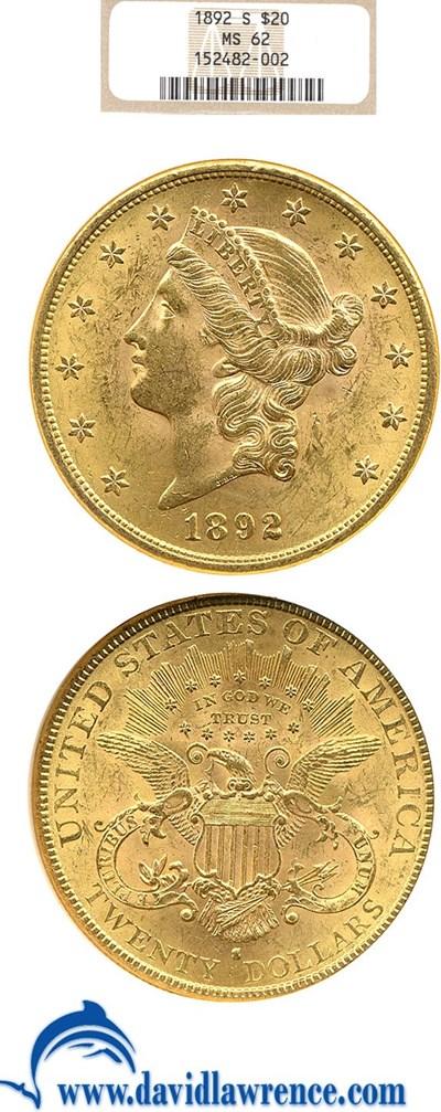 Image of 1892-S $20  NGC MS62