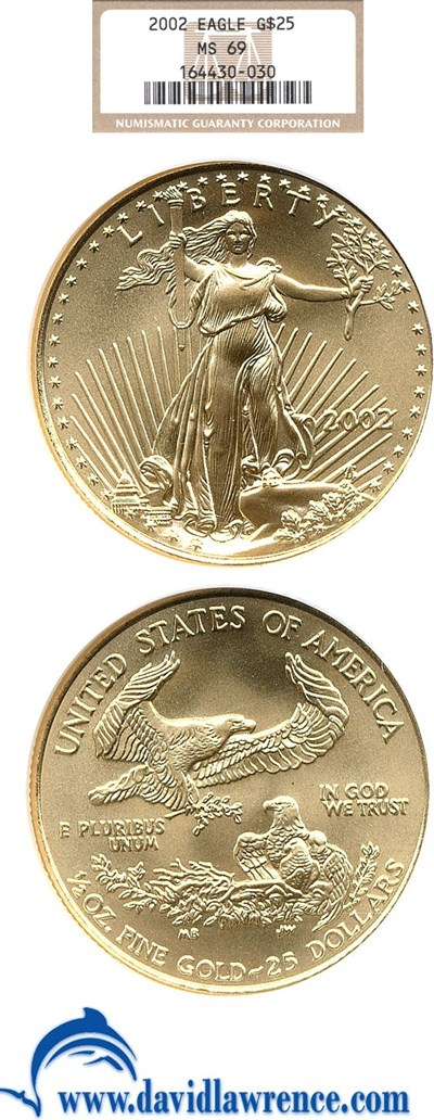 Image of 2002 $25 Gold Eagle NGC MS69