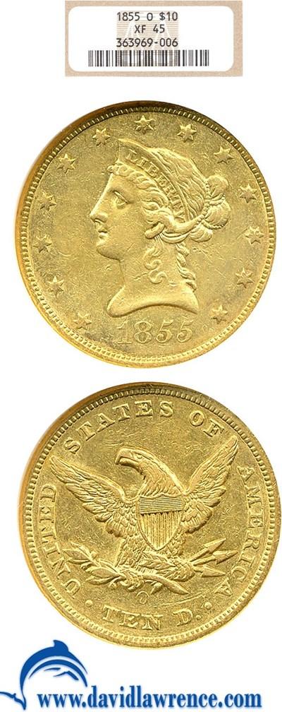 Image of 1855-0 $10  NGC XF45