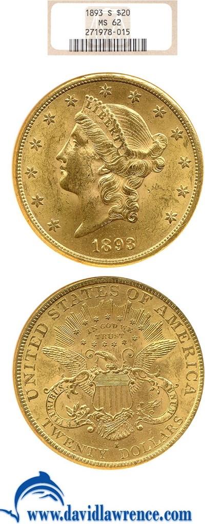 Image of 1893-S $20  NGC MS62