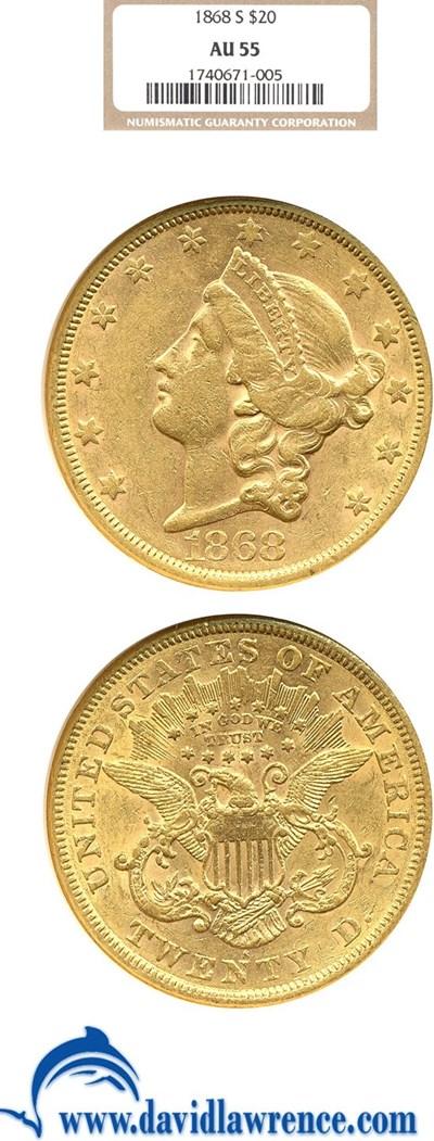Image of 1868-S $20  NGC AU55