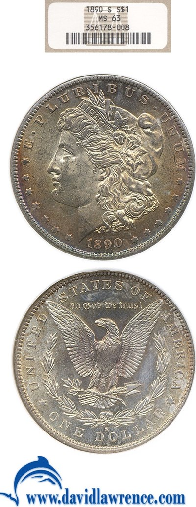 Image of 1890-S $1  NGC MS63 *Color*