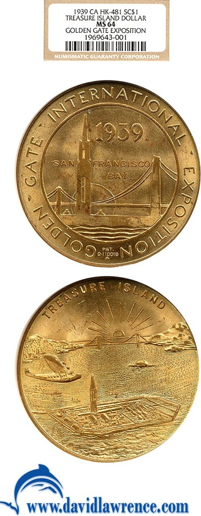 Image of 1939 CA SC$1 Treasure Island Dollar Medal (HK-481) NGC MS63