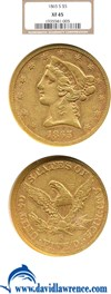 Image of 1865-S $5  NGC XF45