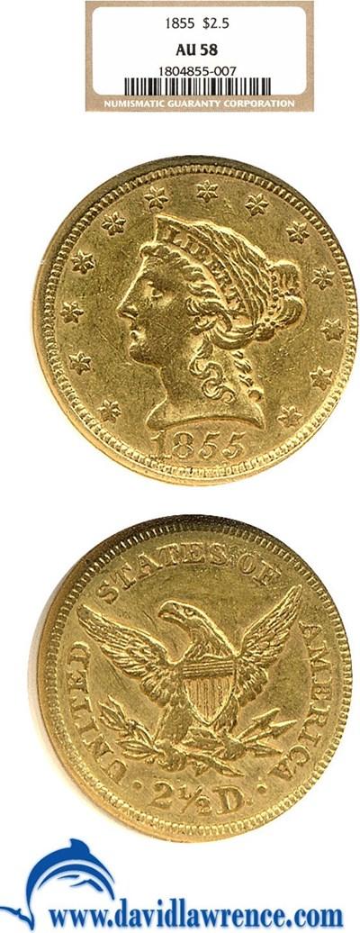 Image of 1855 $2 1/2  NGC AU58
