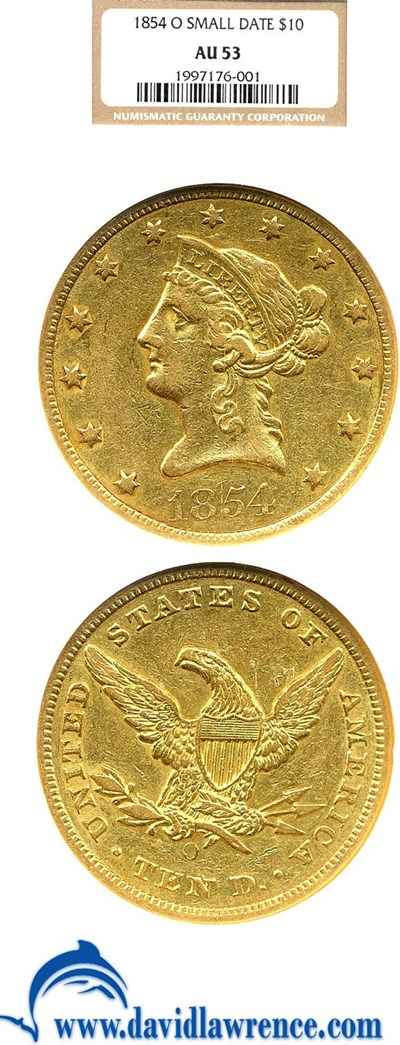 Image of 1854-O $10 Small Date NGC AU53