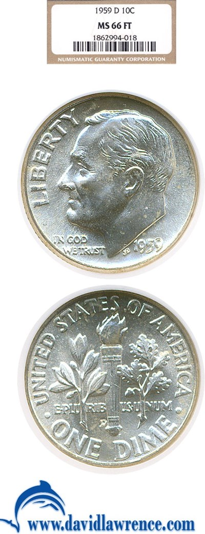 Image of 1959-D 10c  NGC MS66 FT