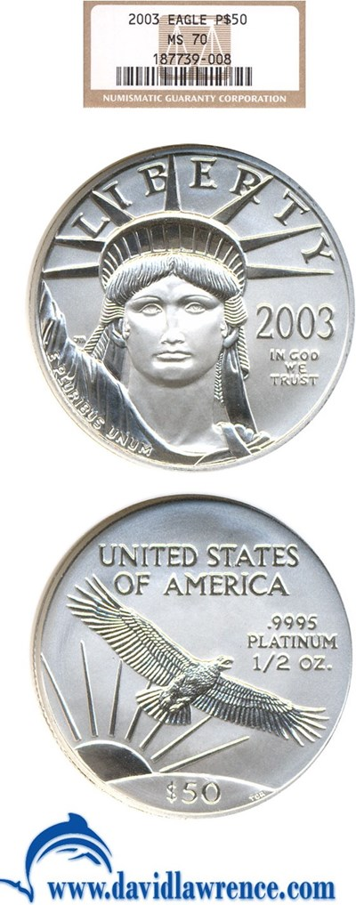 Image of 2003 $50 Platinum Eagle NGC MS70