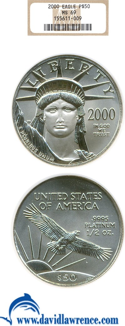 Image of 2000 $50 Platinum Eagle NGC MS69