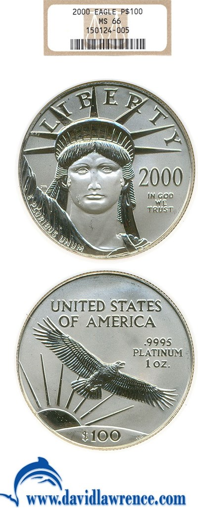 Image of 2000 $100 Platinum Eagle NGC MS66