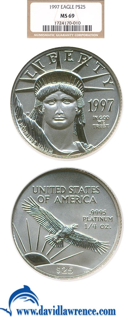 Image of 1997 $25 Platinum Eagle NGC MS69
