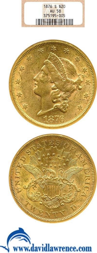 Image of 1876-S $20  NGC AU58