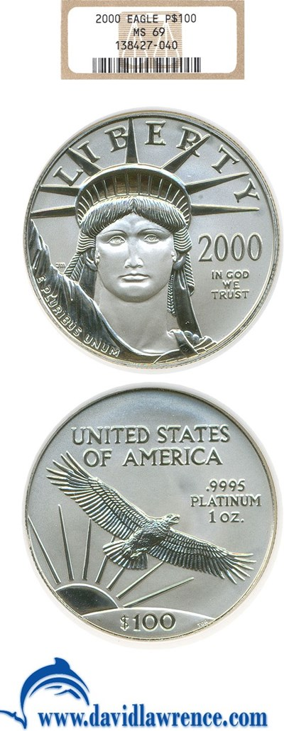Image of 2000 $100 Platinum Eagle NGC MS69