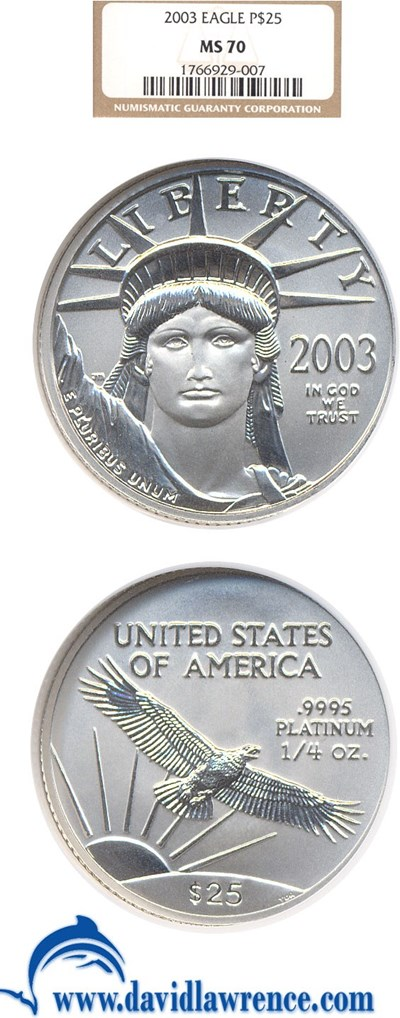 Image of 2003 $25 Platinum Eagle NGC MS70