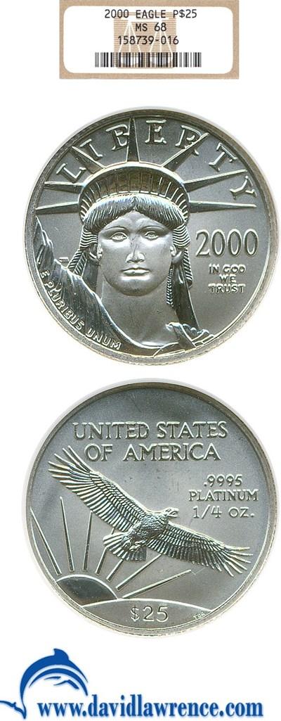 Image of 2000 $25 Platinum Eagle NGC MS68