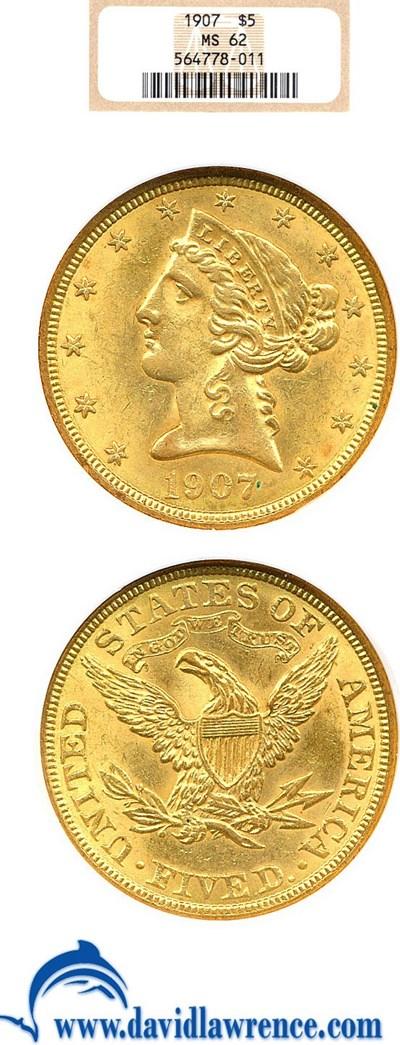 Image of 1907 $5  NGC MS62