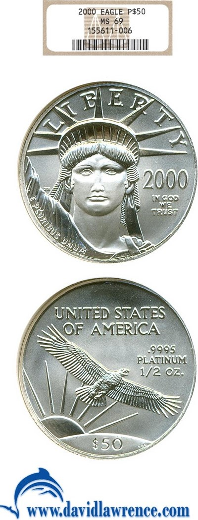 Image of 2000 $50 Platinum Eagle NGC MS69