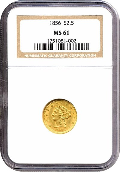 Image of 1856 $2 1/2  NGC MS61