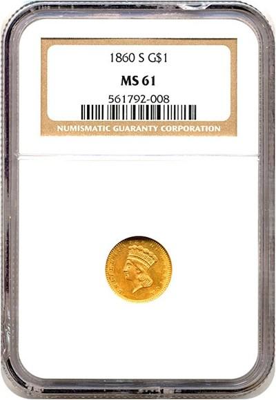 Image of 1860-S G$1  NGC MS61