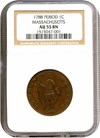Image of 1788 Cent Period Massachusetts NGC AU55 BN