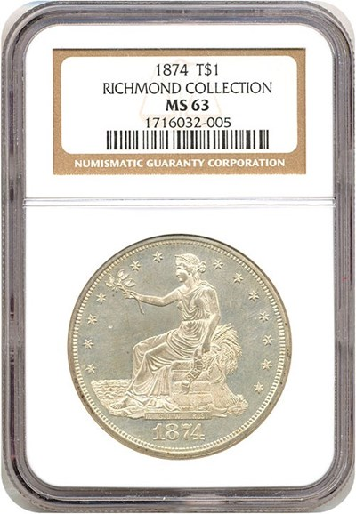Image of 1874 Trade$  NGC MS63 Ex: Richmond Collection