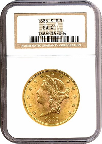 Image of 1885-S $20  NGC MS61