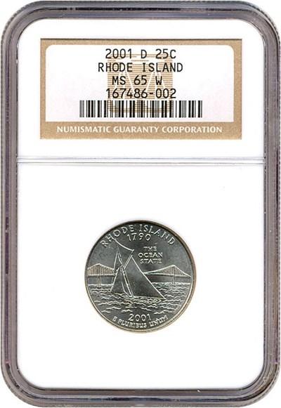 Image of 2001-D 25c Rhode Island NGC MS65