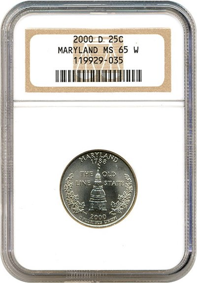 Image of 2000-D 25c Maryland NGC MS65