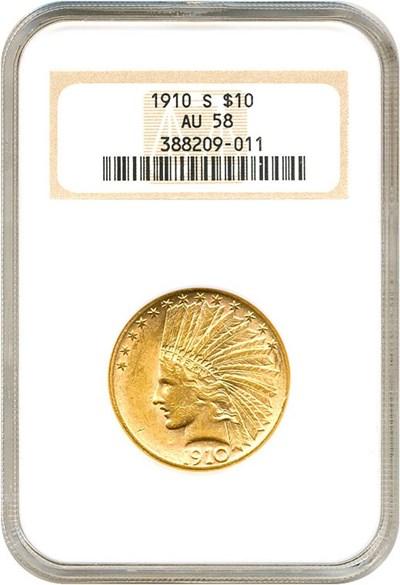 Image of 1910-S $10  NGC AU58